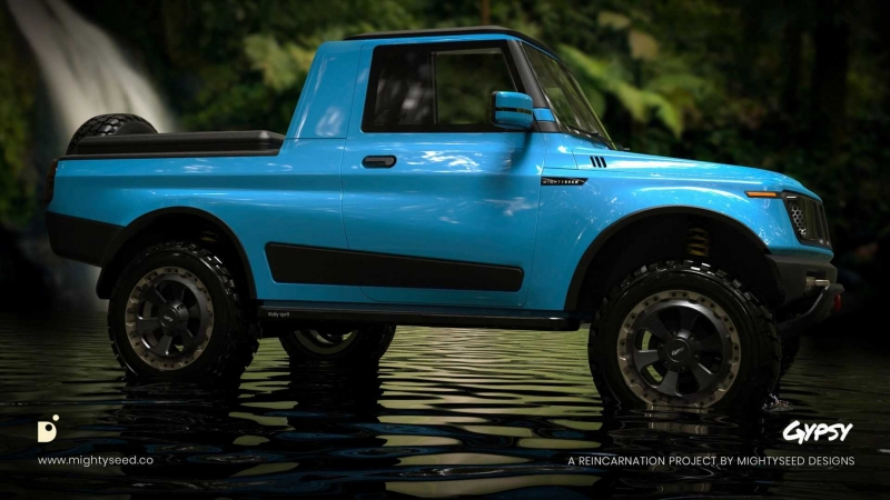 Suzuki Jimny-Based Truck Rendered As Reincarnation Of India's Gypsy